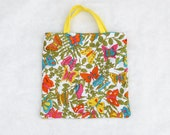 butterfly, butterflies, summer garden tote bag, small tote purse made from vintage napkins with pink orange yellow blue green butterflies