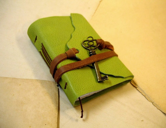Journal with Key - Mini Leather Journal - Pocket Book