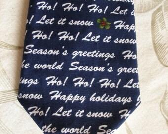 BKool Happy Holidays Necktie, Handmade Mens Ties, White on Navy Blue,