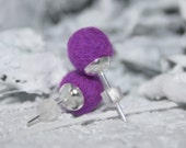 Felt ball earrings - bright purple stud earrings