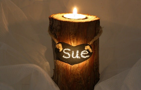 RESERVED for MAAillustrations - Personalized CANDLE HOLDER, Rustic Log & Bark, Chalkboard Heart, Tea Light Candle