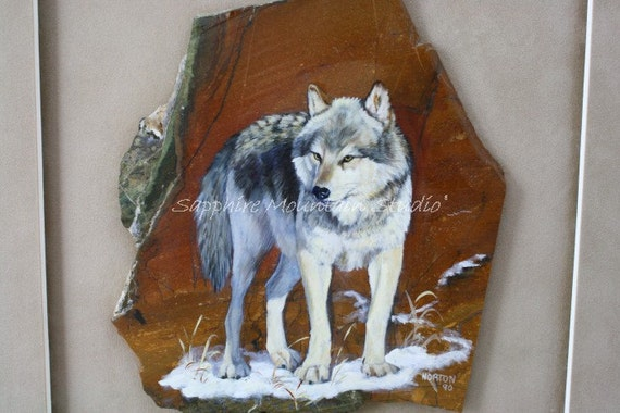 Wild Gray Wolf Slate Original Art Painting, Signed Original