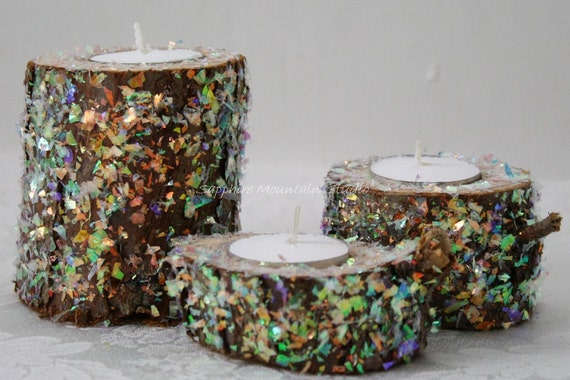 SPARKLING LOG Candle Holder Set,  Set of 3, Perfect for Birthday Parties