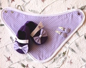 Baby Girl 100% Felt Shoes Bandana Bib Hair Clip - Purple and Lilac with Bow Mary Jane shoes- newborn also available