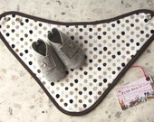 Baby Girl and Boy Felt Shoes Bandana Bib - Natural grey and Dots - newborn also available