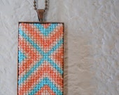 OOAK Hand-Embroidered Coral & Aqua Pendant