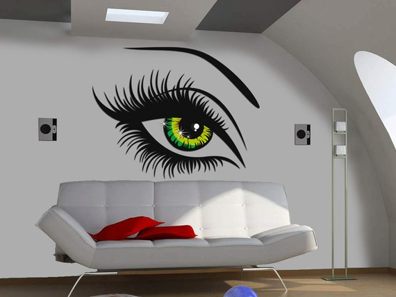 Items Similar To Wall Decal Womens Eyes Green On Etsy - Wall decals eyes
