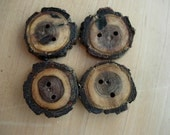 Wooden Walnut Buttons Rustic Set of Four