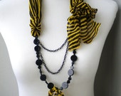 black long statement necklace unique fancy captivating mix of agate and silk crepe - NECKLACE ZAHRA - handmade with love