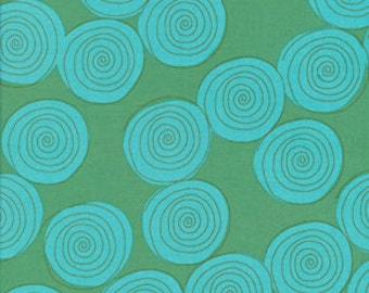 Aqua Blossoming Kathy Davis - Fat Quarter Cotton Quilt Fabric 516