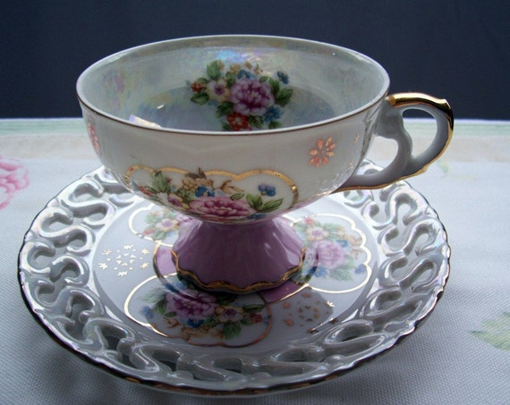Lefton pink and gold teacup and saucer- Free Shipping