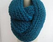 hand knit chunky  circular scarf