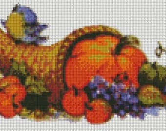 Thanksgiving Cornucopia Cross Stitch Pattern