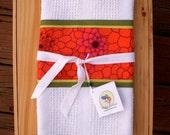 Orange Kitchen Towel, Orange Zinnia Floral, Modern Kitchen Hand Towel