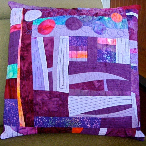 Purple Quilted Pillow Cover, Fiber Art, 18x18