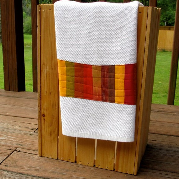 Modern Kitchen Towel, Spicy Orange Red Brown, Dish Towel