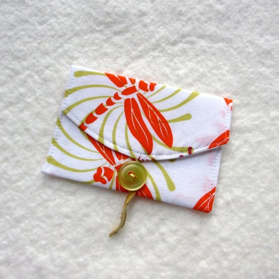 Business Card Case, Dragonfly, Orange Lime Green