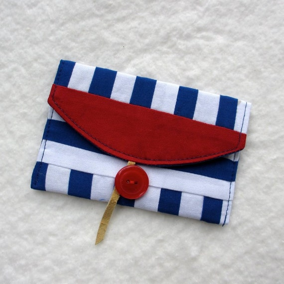 Business Card Holder, Fabric Card Case, Nautical