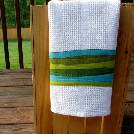 Modern Kitchen Towel, Teal and Green Dish Towel