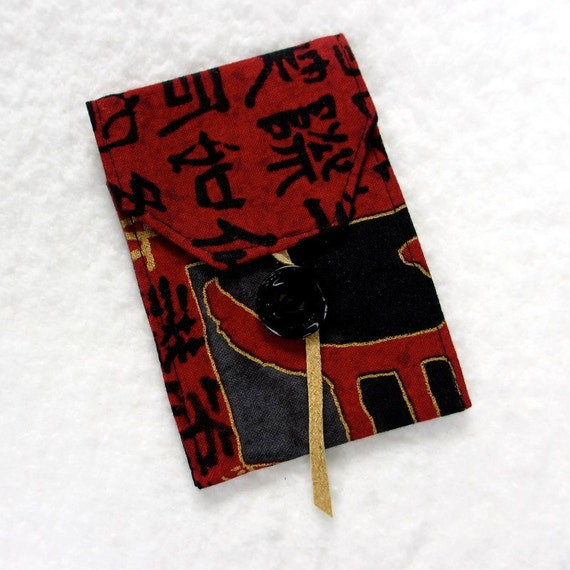 Asian Card Case, Vertical Card Holder, Fabric Card Case