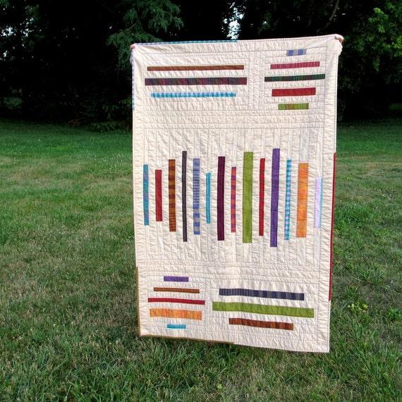 Modern Lap Quilt, Geometric Stripes, Throw Quilt