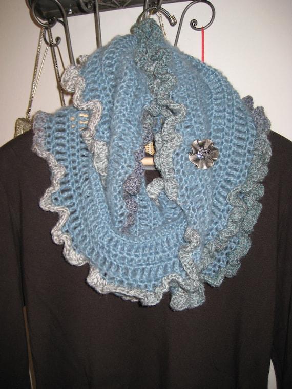 On Sale Blue Crochet Infinity Scarf Ruffled