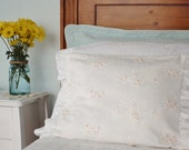 Romantic floral embroidery slipcover/pillow insert and delicate pink beaded centers