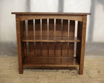 Full Slat Mission Oak Bookcase Quartersawn Oak Free Shipping