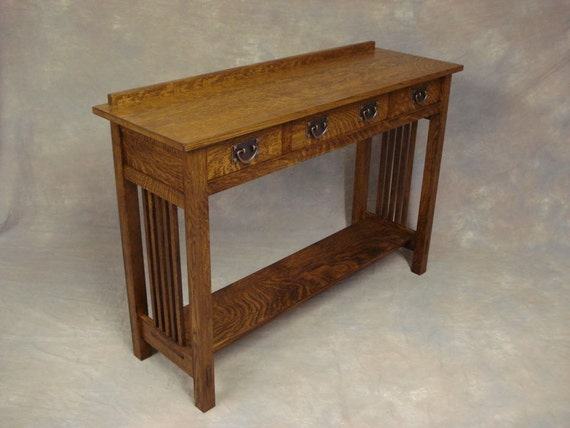 Arts crafts oak server three drawer spindle side sofa for Arts and crafts sofa table