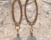 Long Drop Oval Earrings with Blue Bead