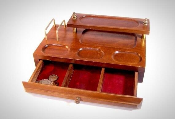 Mens Desk Caddy -  vintage Teak wood dresser valet / desk organizer