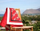 Red Honu Hawaiian Print Quilt