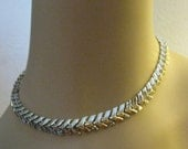 Coro Signed Silver Tone Necklace-Vintage 1950's