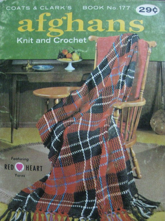 1990 Coats Clark Book 177-Afghans-Knit-Crochet,Aran,Butterfly,MacLeod Clan,Sious Indian,Pineapple,Water Lily,etc.
