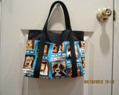 ON SALE/50% OFF - Adorable Six Pocket Tote with Dog Print Fabric Theme