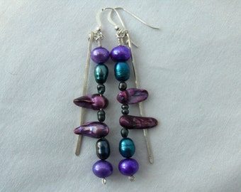 Colorful Cultured Freshwater Pearls & Sterling Silver Earrings