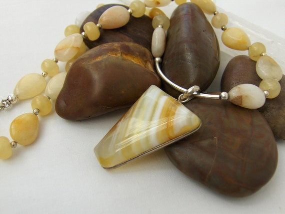 Yellow Jade, Hessonite Garnet, Banded Yellow Agate & Sterling Silver Necklace