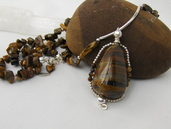 Tigers Eye & Sterling Silver Wire Wrapped Pendant Necklace