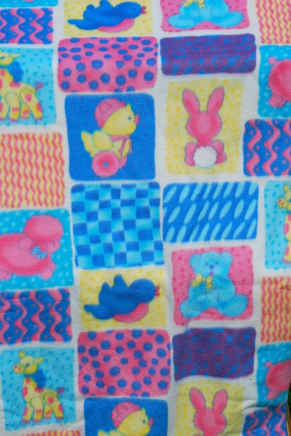 Cute baby print fleece fabric bears bunnies by for Cute baby fabric prints