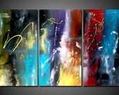 """A Journey of Happiness 48"""" x 20"""" Colorful Modern Abstract On Stretched Canvas"""