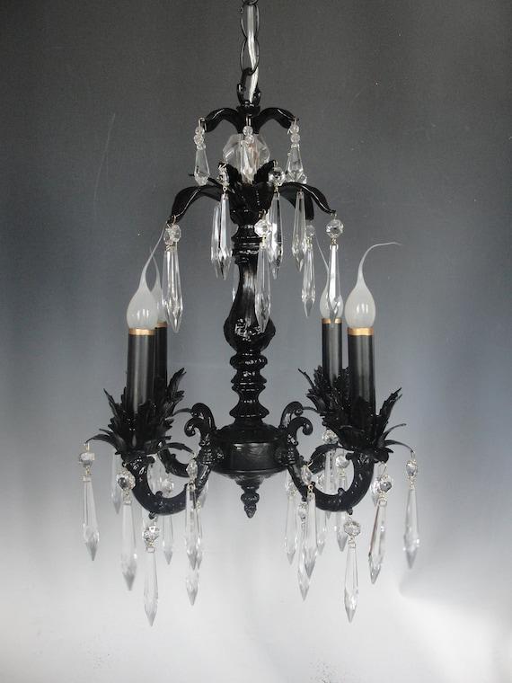 Custom Black Chandelier Lighting, Light Fixture, Shabby Chic Lighting Chandelier