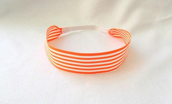 Orange Striped Headband, Stretchy Headband, Tangerine Orange Headband