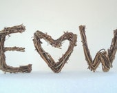 Custom Wedding Cake Topper - You and Me Tiny Twig Initials- Handmade from Natural Grapevine   by Made Merri