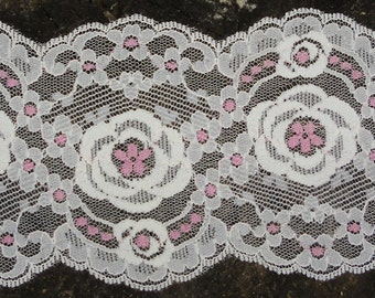 """Vintage Lace - Bridal Lace, Vintage Trim , White and Pink, Lingerie Lace, Stern & Stern Textiles, NY, 18 Yards 3 1/2"""""""