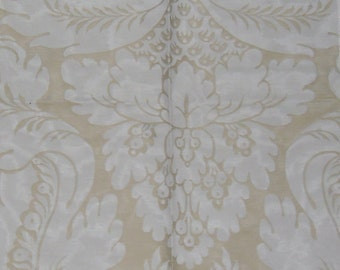 Designer Fabric - Discontinued Upholstery Sample - Pattern is Amadeus in Cream and Pale Gold - Cushion Fabric
