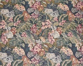 Designer Fabric - Fabric Sample, Upholstery Sample,  J. Ennis,  Pattern Tropics,  Floral Pattern on Black