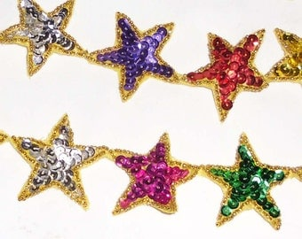 Vintage Trim - Sequin  and Bead Star Motif - Applique in Six Colors for Hats, Clothes, Uniforms, Costumes