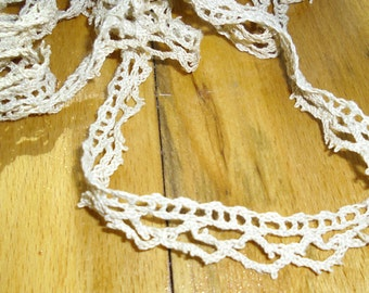 Vintage Trim - Crocheted Trim, Circular Picot Trim, Ecru Trim, Edging Trim