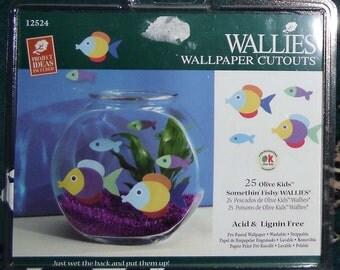 Wallies Wallpaper Cutouts - 25 Olive Kids, Somethin' Fishy, Wallies 12524n Beach Decor, Bathroom Decor, Crafts, Scrapbooking