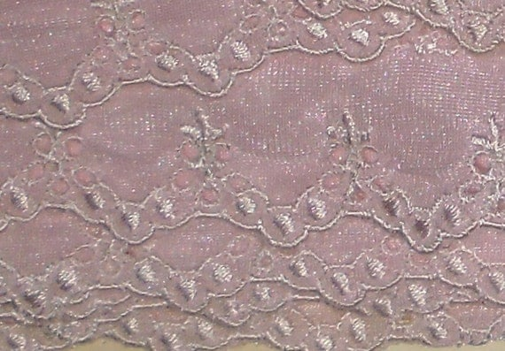 Vintage Trim - Pale Pink Trim with White Embroidery - Fancy Trim - French Trim - Laces Limited Montreal Quebec - Lingerie Trim